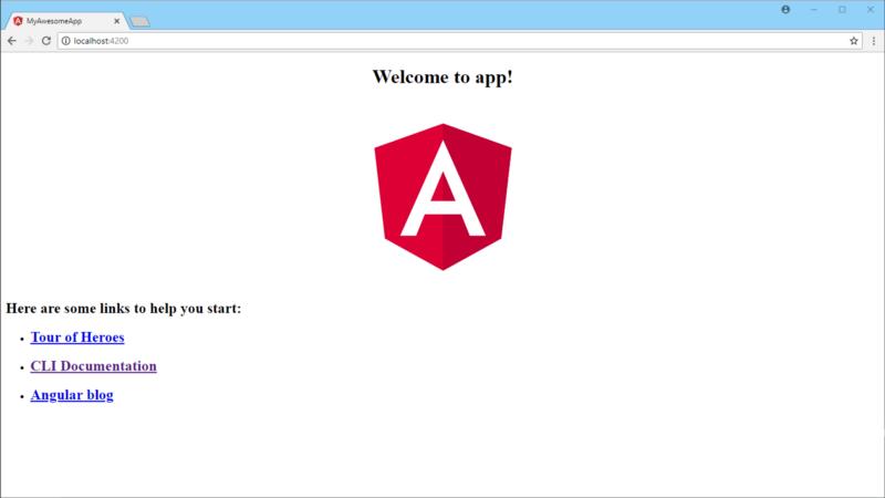 the default Angular startupscreen