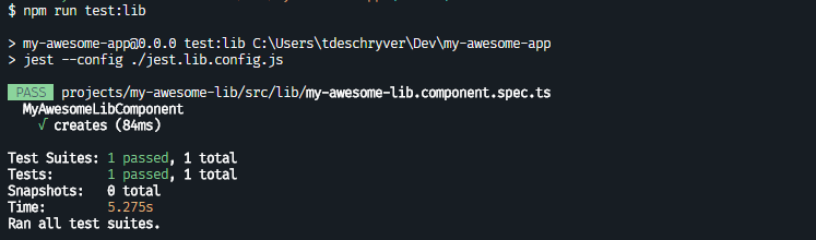 with the command npm run test:lib, only the library tests ran and are succeeding